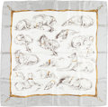 "Luxury Accessories:Accessories, Hermes 90cm Gray & White ""Les Levriers,"" by Xavier De Poret Silk Scarf. Very Good to Excellent Condition. 36"" Width x ..."
