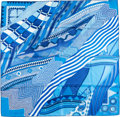 "Luxury Accessories:Accessories, Hermes 90cm Blue & White ""Coupons Indiens,"" by Aline HonoréSilk Scarf. Excellent Condition. 36"" Width x 36""Length..."