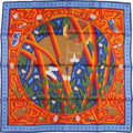 """Luxury Accessories:Accessories, Hermes 90cm Blue & Orange """"Cave Felem,"""" by Christine Henry SilkScarf. Excellent Condition. 36"""" Width x 36"""" Length...."""