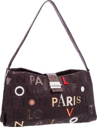 Louis Vuitton Limited Edition Gray Snakeskin & Leather Monogram Collage Lutece Bag Excellent Condition