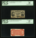 Fractional Currency:Third Issue, Fr. 1274SP 15¢ Third Issue Narrow Margin Pair PCGS Apparent Choice About New 55 and Apparent About New 50.. ... (Total: 2 notes)