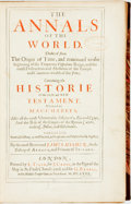 Books:World History, James Ussher. The Annals of the World. London: J. Crook,1658. No edition stated. Quarto. Contemporary half leather ...