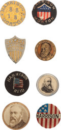 Political:Ferrotypes / Photo Badges (pre-1896), Benjamin Harrison: Eight Studs....
