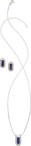 Estate Jewelry:Lots, LAPIS LAZULI, DIAMOND, WHITE GOLD JEWELRY SUITE. ... (Total: 2Items)