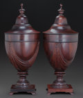 Decorative Arts, British:Other , A PAIR OF GEORGE III STYLE MAHOGANY CUTLERY URNS, circa 1900. 25inches high (63.5 cm) . ... (Total: 2 Items)