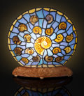 "Lapidary Art:Lamps, ELLIPTICAL ""STAINED GLASS"" AMMONITE LAMP. Cleoniceras sp.. Cretaceous. Madagascar . ..."