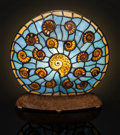 """Lapidary Art:Lamps, ELLIPTICAL """"STAINED GLASS"""" AMMONITE LAMP. Cleoniceras sp..Cretaceous. Madagascar. ..."""