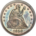 Proof Seated Quarters, 1858 25C PR66 NGC. Briggs 5-E....