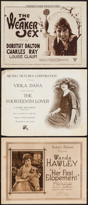 """Her First Elopement & Others Lot (Realart, 1920). Title Lobby Cards (3) (11"""" X 14""""). Drama. ... (Total..."""