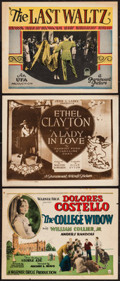"""The College Widow & Others Lot (Warner Brothers, 1927). Title Lobby Cards (2) & Lobby Card (11"""" X 1..."""