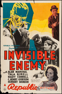 "Invisible Enemy (Republic, 1938). One Sheet (27"" X 41""). Crime"