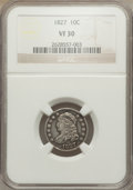 Bust Dimes: , 1827 10C VF30 NGC. NGC Census: (7/227). PCGS Population (28/291).Mintage: 1,300,000. Numismedia Wsl. Price for problem fre...