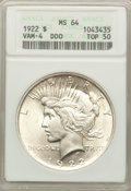 Peace Dollars, 1922 $1 Doubled Motto, VAM-4, MS64 ANACS. A Top 50 Variety. NGC Census: 1 in 64, 0 finer (6/19). PCGS Population: 19 in 64,...