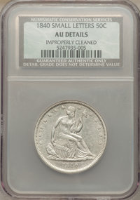1840 50C Small Letters -- Improperly Cleaned -- NCS. AU Details. NGC Census: (10/134). PCGS Population (24/138). Mintage...