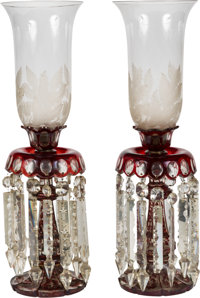 A PAIR OF BOHEMIAN CUT-TO-CLEAR CRANBERRY GLASS LUSTRES WITH ETCHED GLASS HURRICANE SHADES, circa 1890 24-1/2 x
