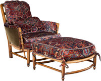 AN EDWARDIAN-STYLE UPHOLSTERED ARM CHAIR AND OTTOMAN, 20th century 37-1/2 x 35 x 38 inches (95.3 x 88.9 x 96.5 cm)
