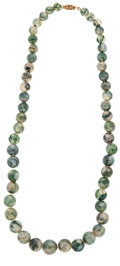 Estate Jewelry:Necklaces, Moss Agate, Base Metal Necklace. ...