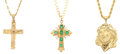 Estate Jewelry:Pendants and Lockets, Ruby, Emerald, Gold Pendant-Necklaces. ... (Total: 3 Items)