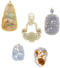 Estate Jewelry:Pearls, Group of Jadeite, Nephrite, Agate, Gold Pendants. ...