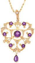 Estate Jewelry:Pendants and Lockets, Amethyst, Seed Pearl, Gold Pendant-Necklace. ...