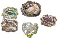 Estate Jewelry:Lots, Lot of Enamel, Silver Brooches. ...