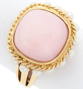 Estate Jewelry:Rings, Pink Opal, Seed Pearl, Gold Ring. ...