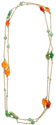 Jadeite, Carnelian, Gold Necklace