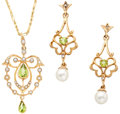 Estate Jewelry:Suites, Peridot, Cultured Pearl, Diamond Gold Jewelry. ... (Total: 2 Items)