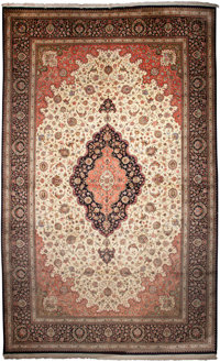 A PERSIAN QUM SILK RUG, 20th century 13 feet long x 21-1/2 feet wide (396.2 x 655.3 cm)  WEIDER HEALTH AND F