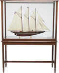 Maritime:Decorative Art, SHIP MODEL OF THE SCHOONER 'ATLANTIC'. Fully rigged, presented in aglass and wood case, and table base.. 38 x 52 x 16-1/2 i...