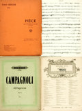 Books:Music & Sheet Music, [Sheet Music]. Four Pieces of Sheet Music. Includes selections by Campagnoli, Chausson, Cui and Dvorak. Various publishers a... (Total: 4 Items)