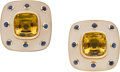 Estate Jewelry:Earrings, Trianon Citrine, Rock Crystal Quartz, Sapphire, Gold Earrings. ...