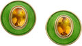 Estate Jewelry:Earrings, De Vroomen Citrine, Enamel, Gold Earrings. ...