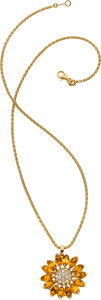 Estate Jewelry:Necklaces, Asprey Citrine, Diamond, Gold Pendant-Necklace. ...