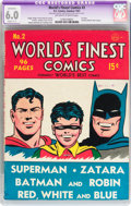Golden Age (1938-1955):Superhero, World's Finest Comics #2 (DC, 1941) CGC Apparent FN 6.0 Slight (C-1) Off-white to white pages....
