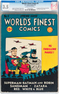 Golden Age (1938-1955):Superhero, World's Finest Comics #5 (DC, 1942) CGC VG- 3.5 Off-white to white pages....