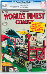 World's Finest Comics #13 (DC, 1944) CGC FN+ 6.5 Off-white to white pages