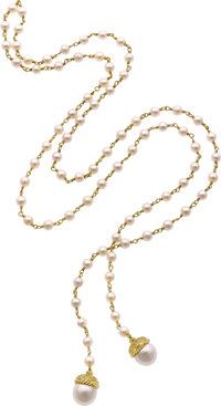 Cynthia Bach Cultured Pearl, Gold Necklace
