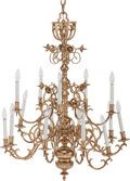 Decorative Arts, American:Lamps & Lighting, AN AMERICAN BRASS FIFTEEN-LIGHT CHANDELIER, late 19th century. 50 inches high x 31 inches diameter (127 x 78.7 cm). ...