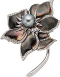 Estate Jewelry:Brooches - Pins, Chaumet South Sea Cultured Pearl, Shell, Diamond, Gold Brooch. ...