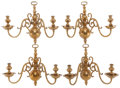 Decorative Arts, American:Lamps & Lighting, A SET OF FOUR AMERICAN BRASS TWO-LIGHT WALL SCONCES, late 19th century. 14-3/4 inches high x 17 inches wide (37.5 x 43.2 cm)... (Total: 4 Items)
