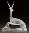 Art Glass:Lalique, LALIQUE CLEAR AND FROSTED GLASS ANTELOPE. Post 1945. EngravedLalique, France. Ht. 10-1/4 in.. ...
