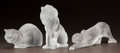 Art Glass:Lalique, THREE LALIQUE FROSTED GLASS ANIMAL STATUETTES. Post 1945. EngravedLalique, France. Ht. 8 in. (lion). ... (Total: 3 Items)