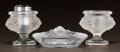 Art Glass:Lalique, LALIQUE CLEAR AND FROSTED GLASS TETE DE LION SMOKING SET.Post 1945. All engraved Lalique, France. Ht. 4-1/2...(Total: 3 Items)