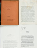 Books:Literature 1900-up, [Typescripts]. Various Selection of Typescripts and an UnofficialBibliography. Includes a SIGNED typescript of The La... (Total:4 Items)
