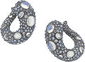 Estate Jewelry:Earrings, Piranesi Sapphire, Moonstone, Gold Earrings. ...