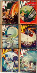 Books:Pulps, [Pulps]. Six Issues of Amazing Stories. 1932. Some rubbing and chipping with some minor loss. Spines reinforced with... (Total: 6 Items)