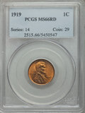 Lincoln Cents: , 1919 1C MS66 Red PCGS. PCGS Population (248/80). NGC Census:(75/11). Mintage: 392,020,992. Numismedia Wsl. Price for probl...