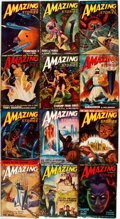 Books:Pulps, [Pulps]. Twelve Issues of Amazing Stories. 1948. Tatterededges with some toning and loss to spines. Overall very g...(Total: 12 Items)