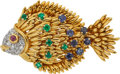 Estate Jewelry:Brooches - Pins, Tiffany & Co. Multi-Stone, Diamond, Gold Brooch. ...